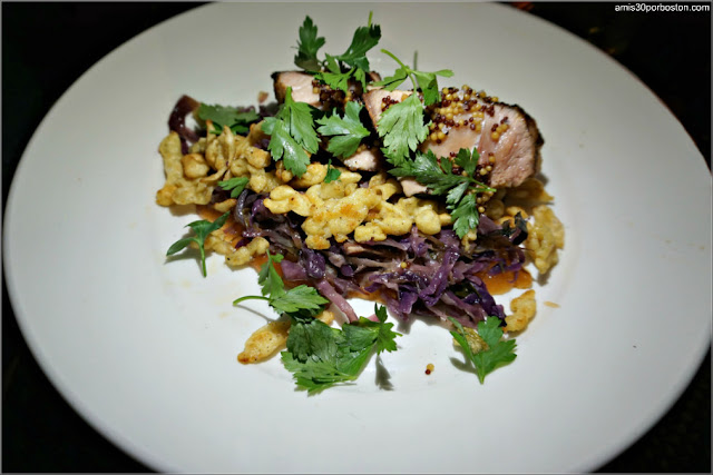 Vanilla Brined Pork Loin: Pan fried spätzle, sautéed cabbage, apple butter, pickled mustard seeds