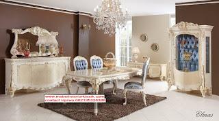 jual meja makan classic duco putih,meja makan classic ukiran mewah,mebel interior klasik