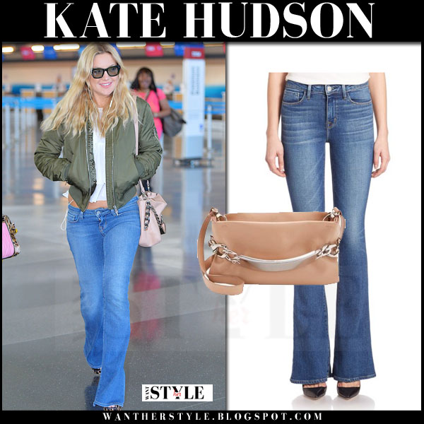 Kate Hudson in green bomber jacket and  lagence elysee flare jeans what she wore airport style