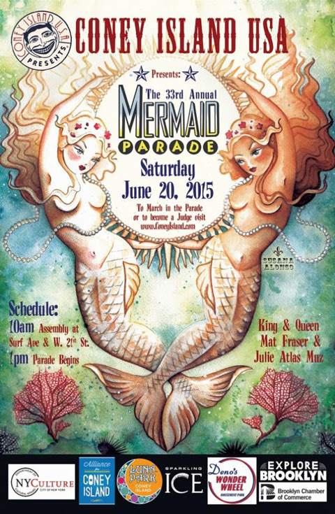POSTER FOR THE 2015 CONEY ISLAND MERMAID PARADE USA