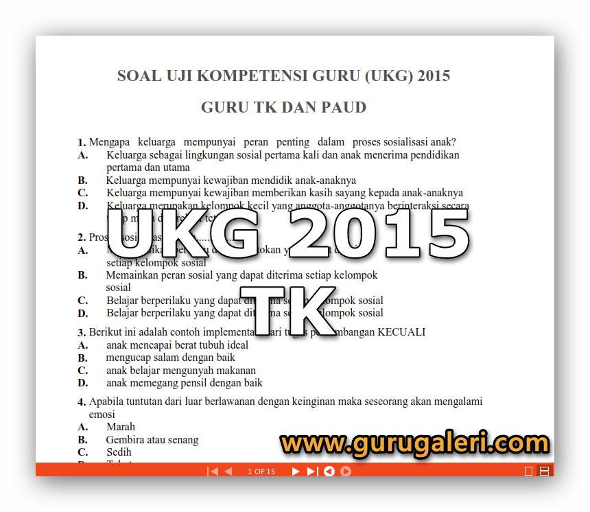 Soal Ukg Guru Tk Update 31 Oktober 2015 Guru Galeri