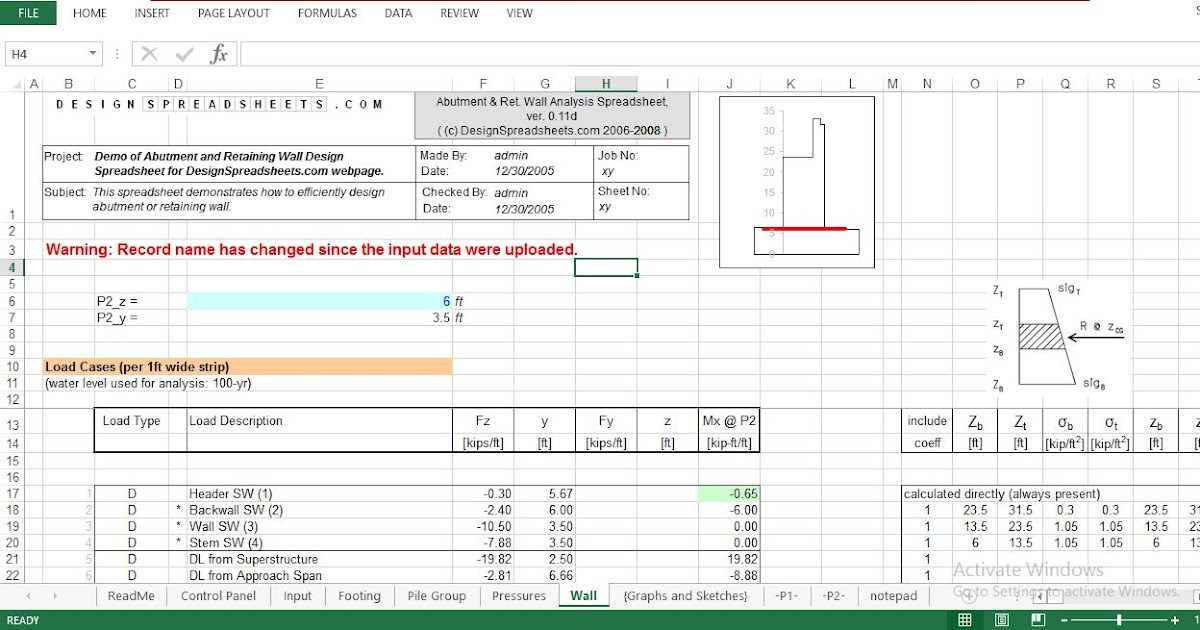 Abutment And Retaining Wall Design Spreadsheet Download