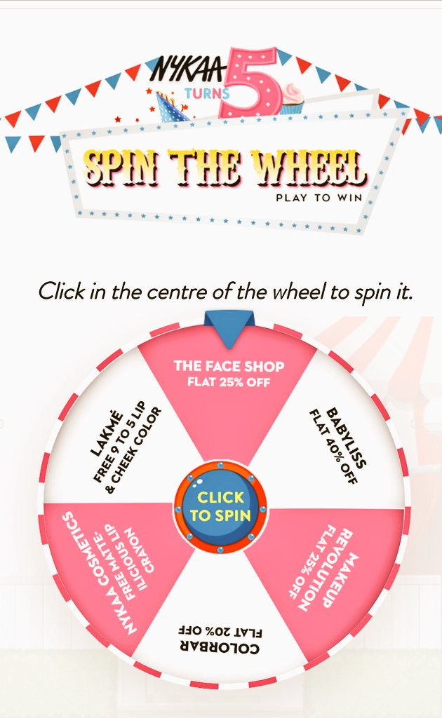 Spin The Wheel Nykaa Turn 5 Contest Win Prize offer