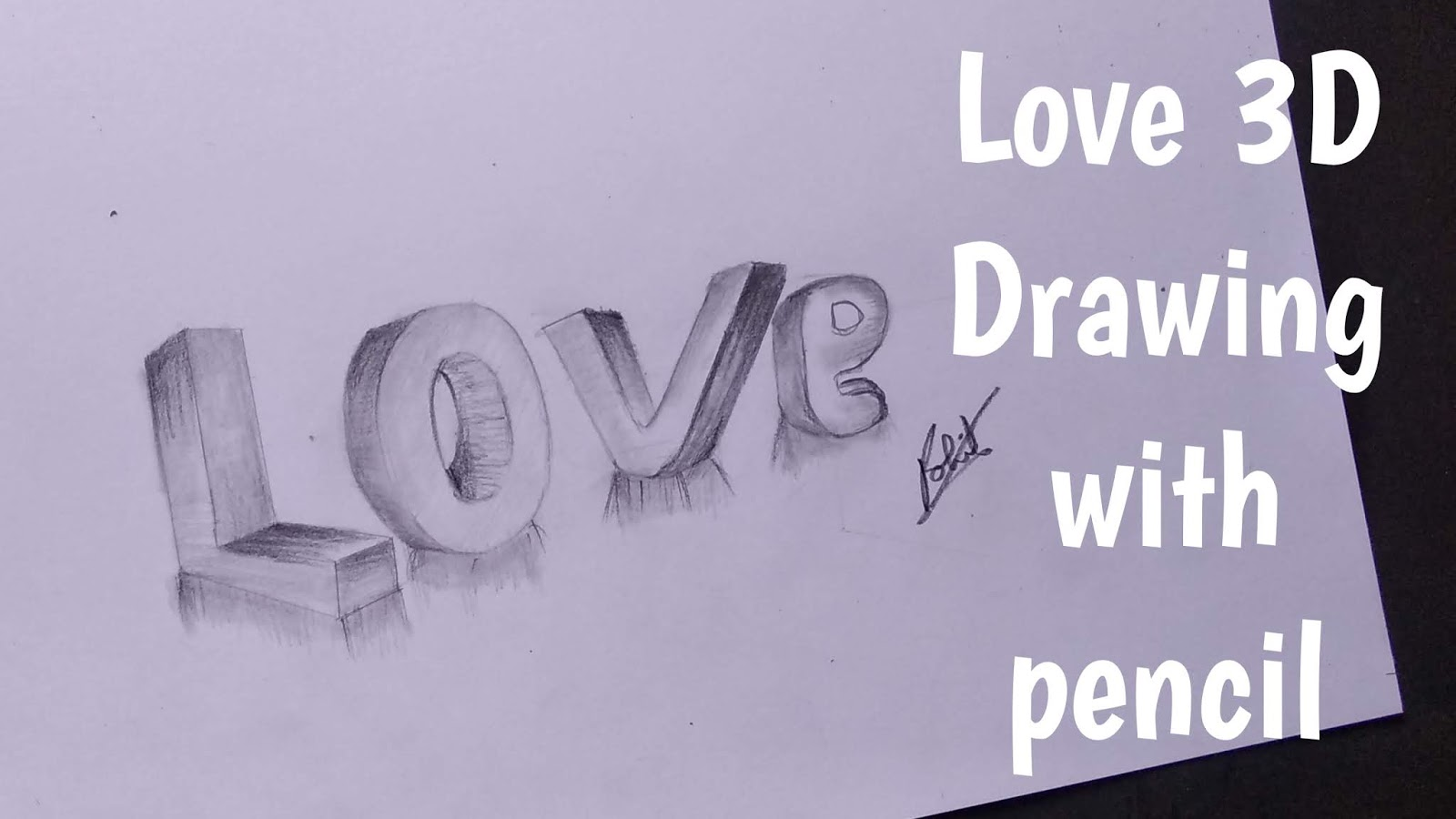 How to draw love in 3d 3d love drawing love 3d drawing step