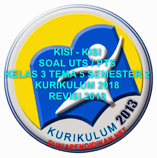 Kisi-Kisi PTS/UTS SD/MI Kelas 3 Tema 5 Semster 2 Kurikulum 2013 Tahun 2018/2019