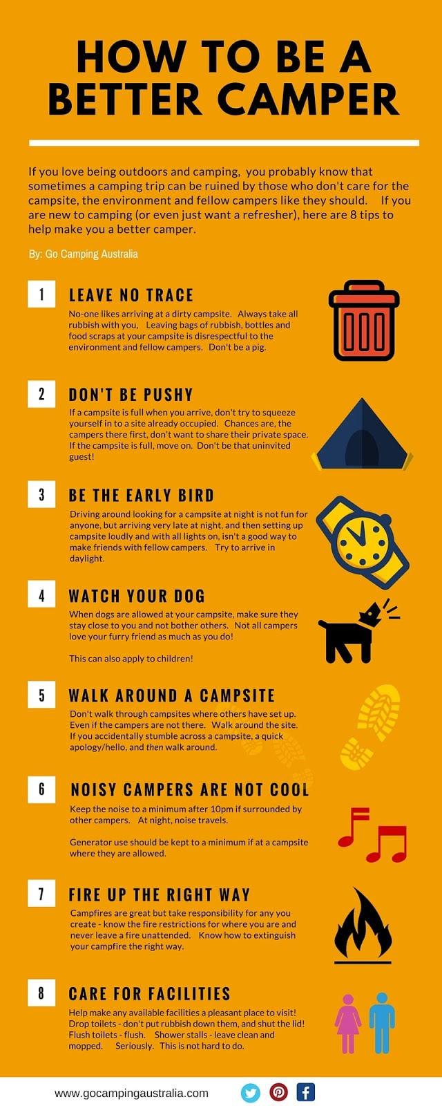 Tips to be a better camper infographic