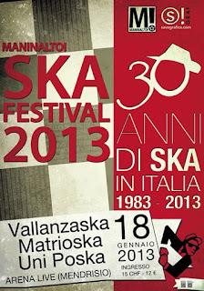 Il 18 gennaio all'Arena Live di Mendrisio si festeggiano i 30 anni di Ska in Italia