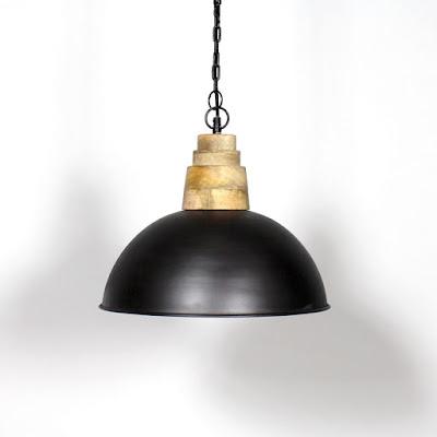 Suspension industrielle arrondie en métal et bois made-in-meubles.com
