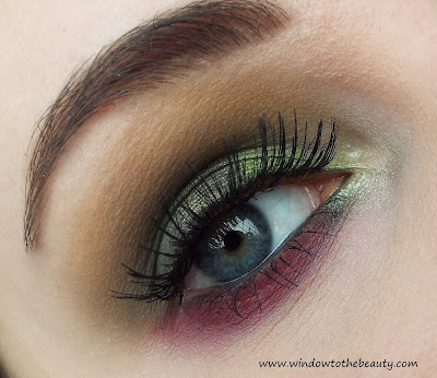 Burgundy and green look