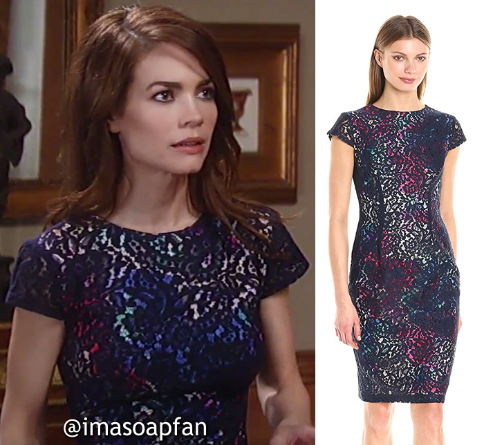 Elizabeth Webbers, Rebecca Herbst, Black Lace Dress with Floral Lining, General Hospital, GH