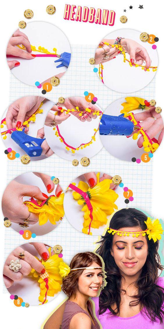 faça você mesma headband ~ coroa de flores ~ inspirações para o carnaval, fantasias