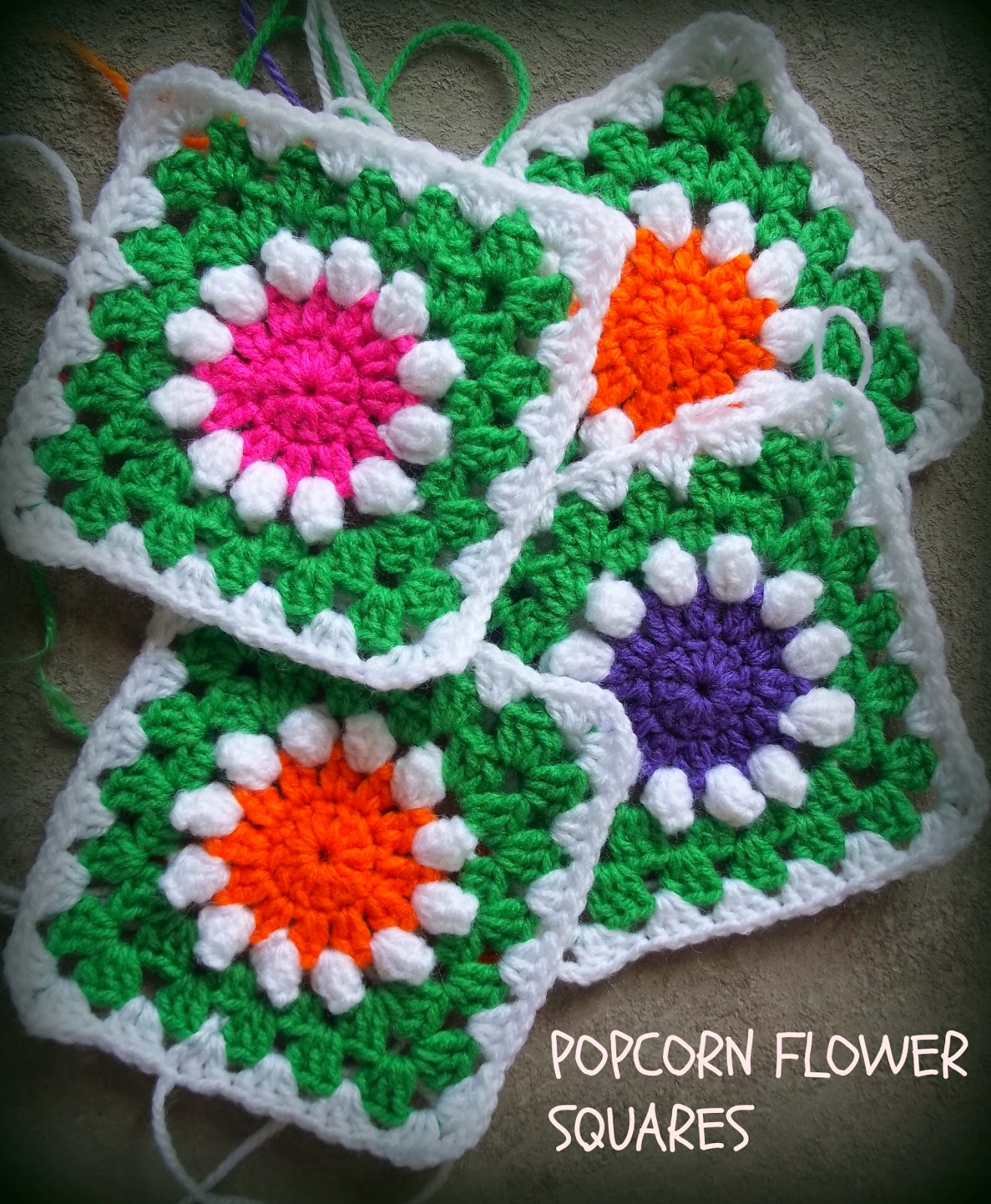 popcorn flower granny squares
