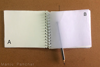 Travel sketch book created using canson paper and butter paper. By Manju Panchal