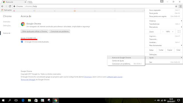 Google Chrome Versão 57