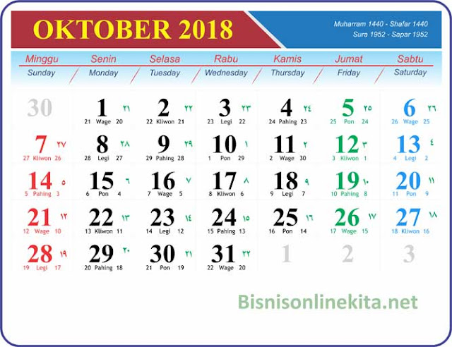 kalender oktober 2018