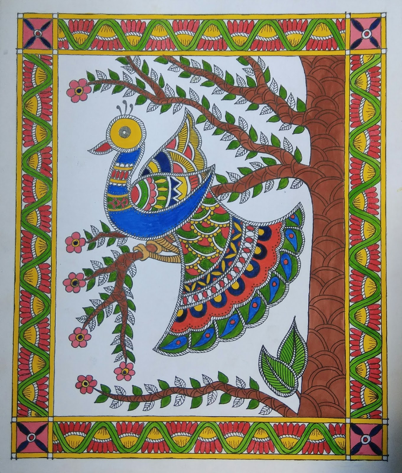 Madhubani Painting Of Mayur