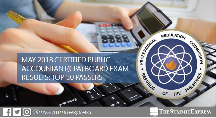 TOP 10 PASSERS: May 2018 CPA board exam topnotchers
