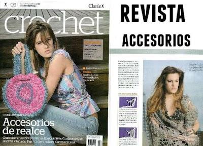 Revista con accesorios-complementos de crochet