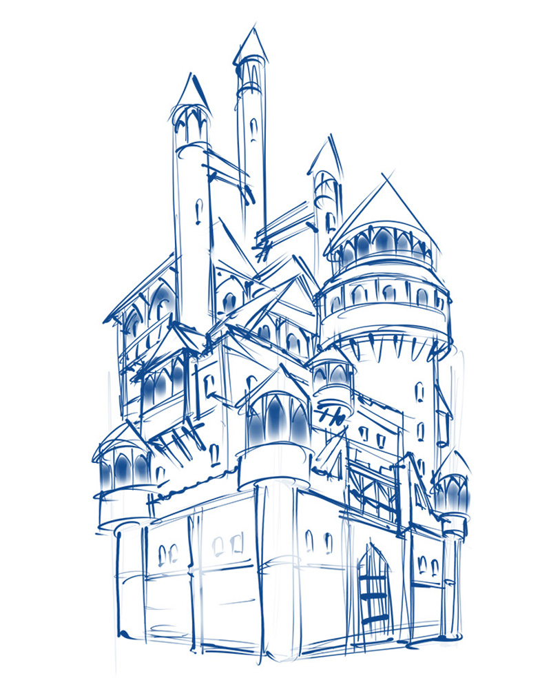 2d game environment medieval castle concept sketch