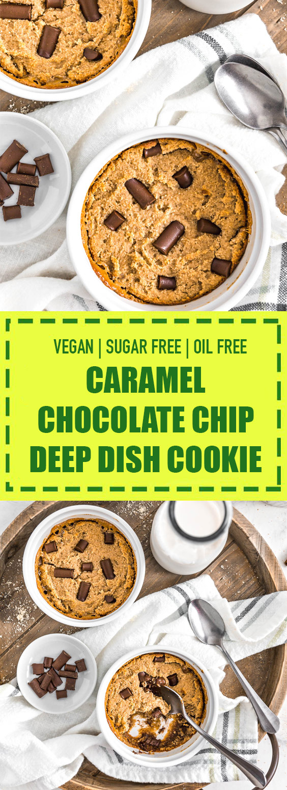 Vegan + Sugar Free Caramel Chocolate Chip Deep Dish Cookie