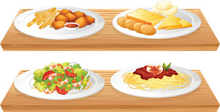 Clipart image of groups of different food