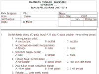 Soal UTS/MID Ganjil SD Kelas 1 2017/2018