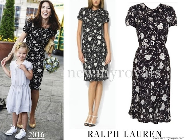 Crown Princess Mary wore Ralph Lauren Black and White Floral Dress