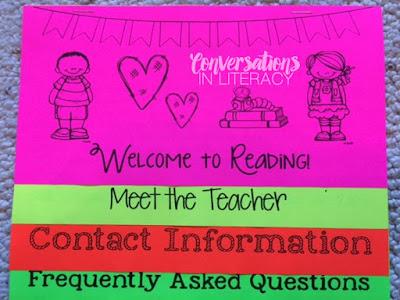 Reading Flip Chart for Meet the Teacher Night