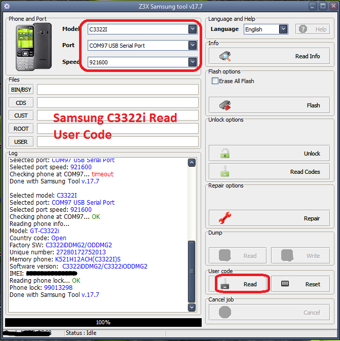 Samsung C3322i Read User Code Done With Z3x Samsung Tool V17