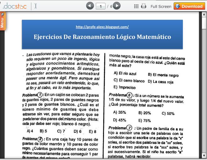 Razonamiento Lógico Matemático Ejercicios Resueltos « Blog del Profe ...