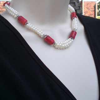 Freshwater seed pearls and coral Necklace