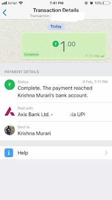 Check your payment or transaction record on WhatsApp