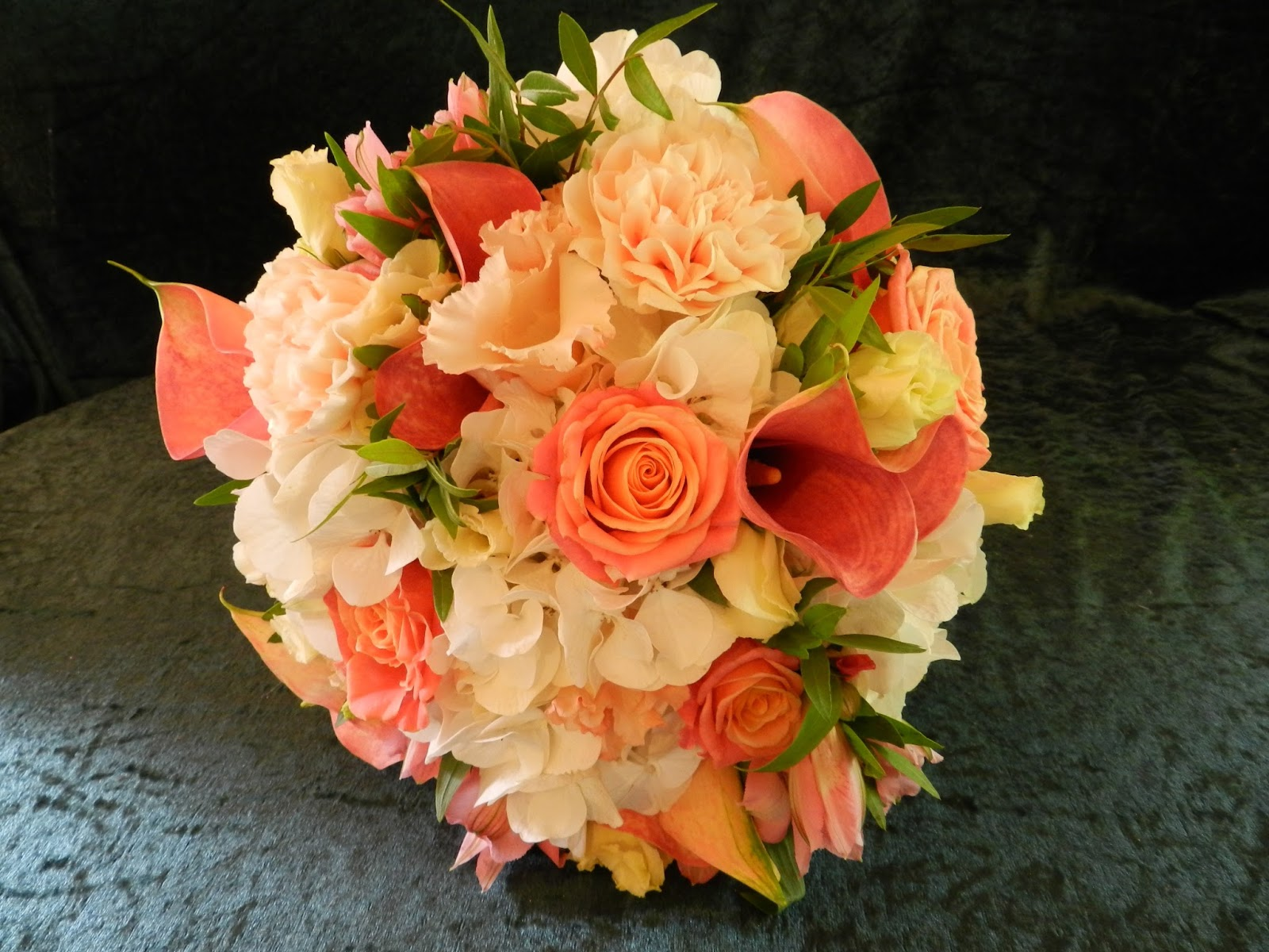 Sandra's Flower Studio: Coral and ivory wedding flowers