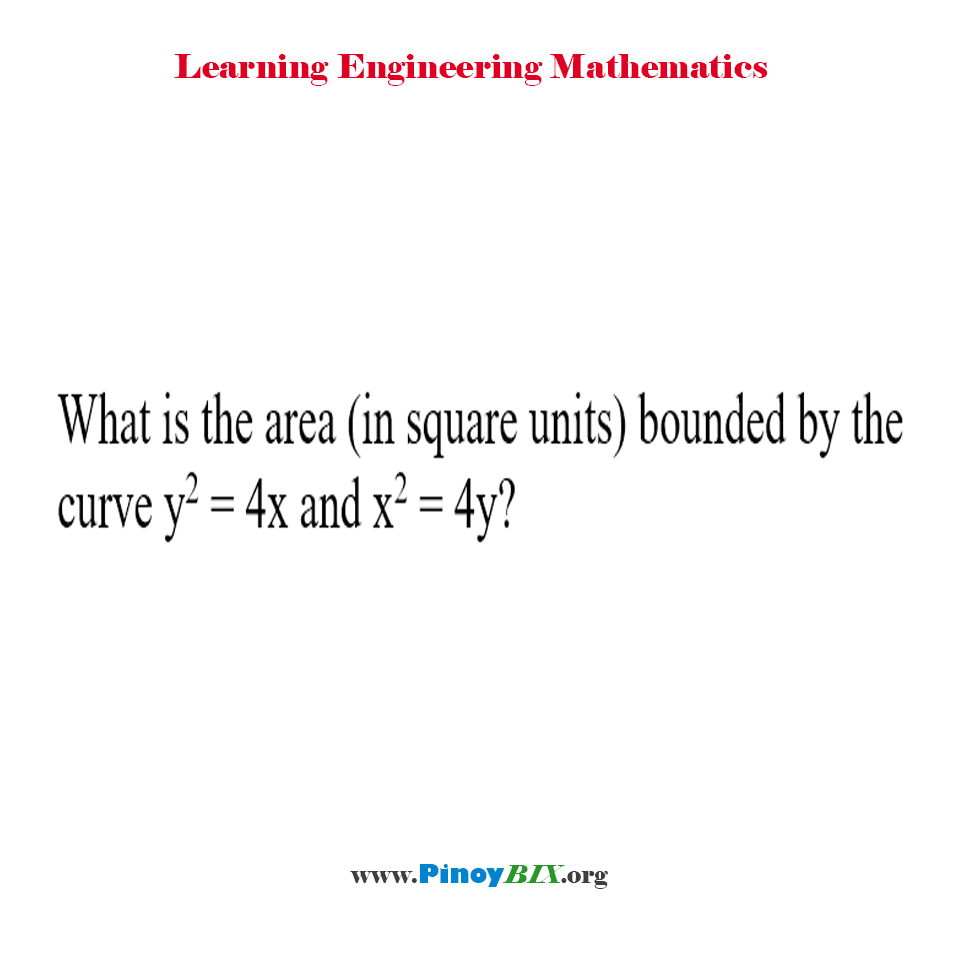 What is the area bounded by the curve y^2 = 4x and x^2 = 4y?