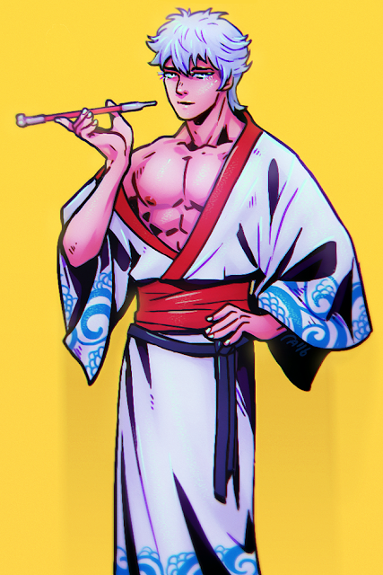 gintama gintoki man in kimono japanese smocking pipe flirty pinup male nipple showing bare chest