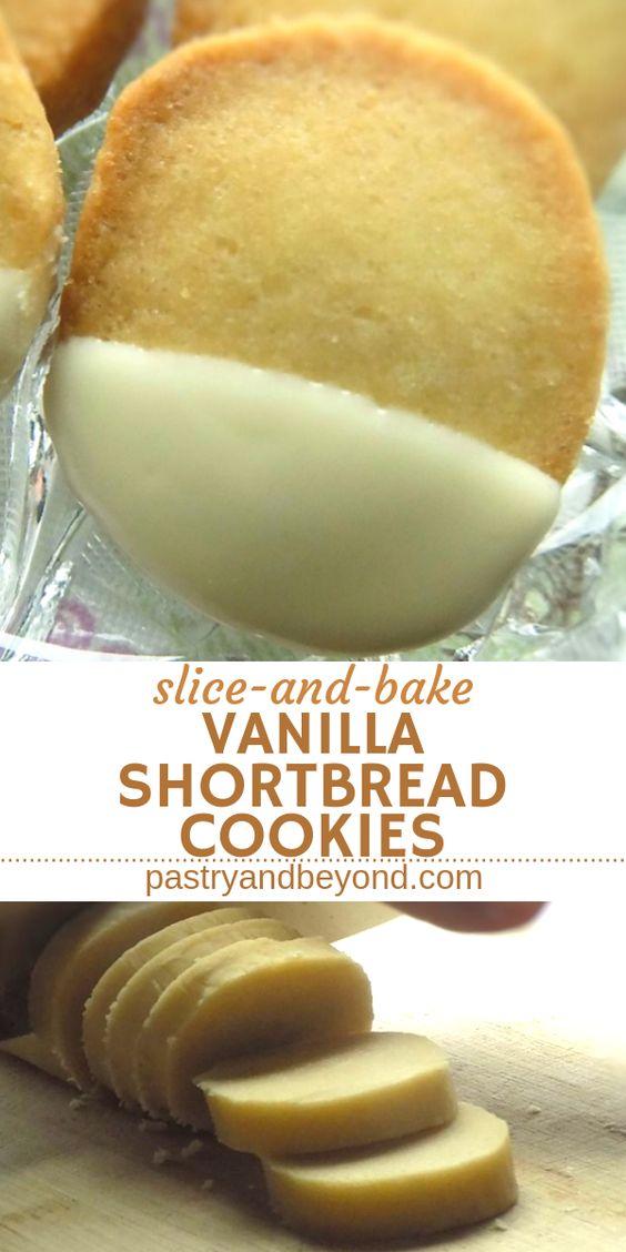 Easy Slice-and-Bake Vanilla Shortbread Cookies #easycookierecipes #cookies #cookierecipes #easyslice #vanilla #shortbread