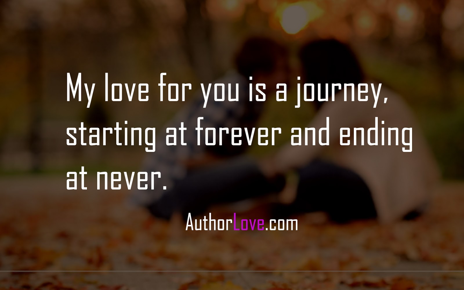 My love for you is a journey starting at forever and ending at never