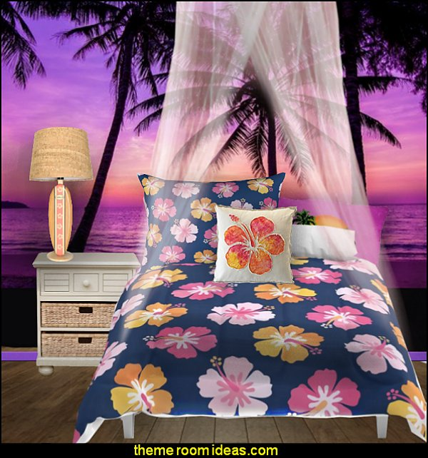 tropical bedding CANDY COLORED HIBISCUS on NAVY comforter