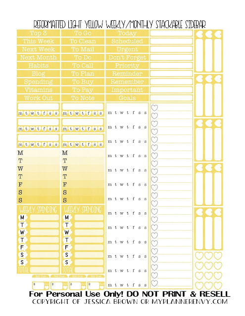 Free Printable Reformatted Monthly/Weekly Stackable Sidebar in Light Yellow from myplannerenvy.com