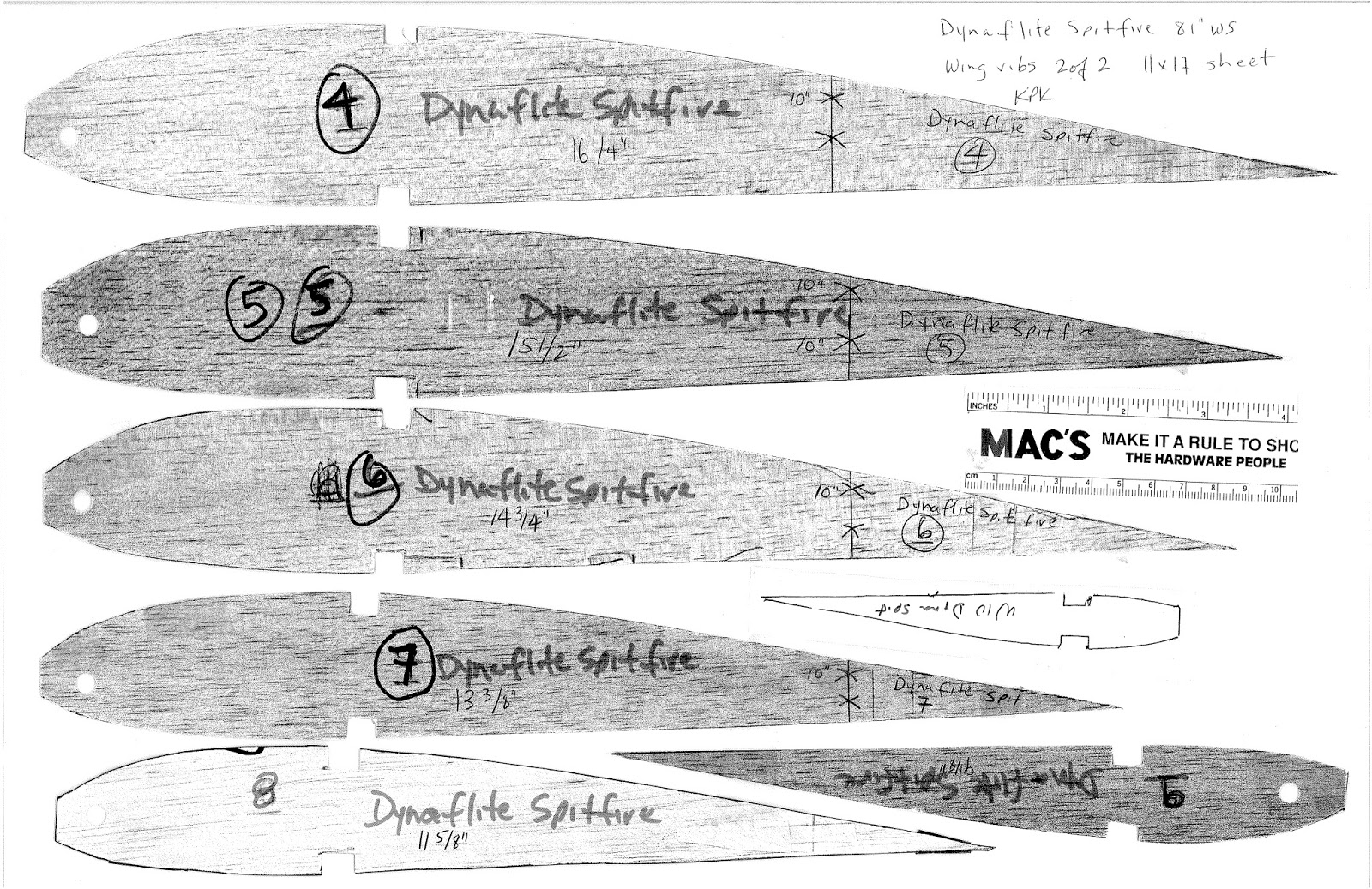 Warbird Notes and Stories : Dynaflite Spitfire kit parts 81