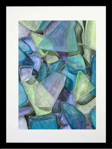 Sea Glass Art Painting Print Framed