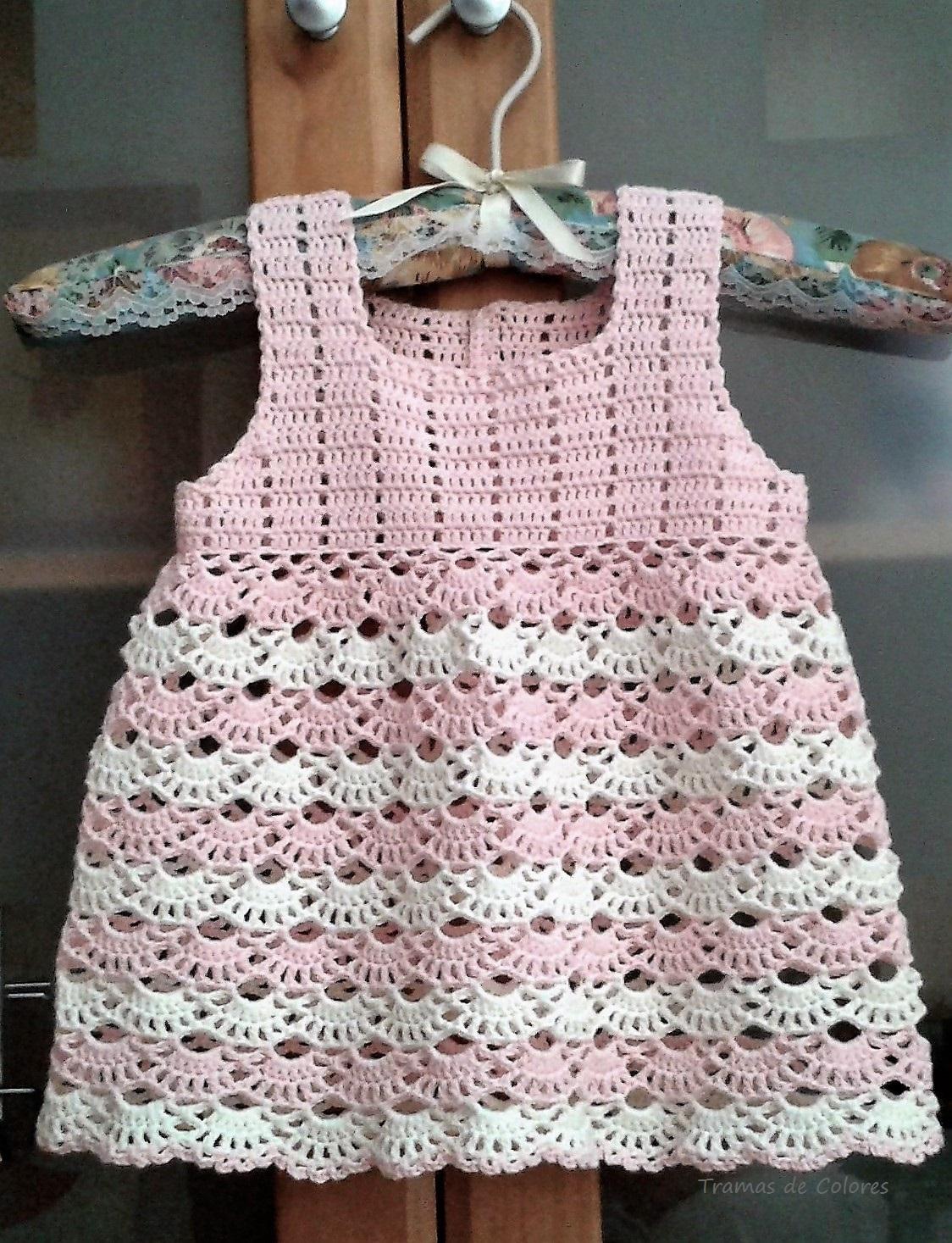 Vestido De Crochet Para Niña Tramas De Colores