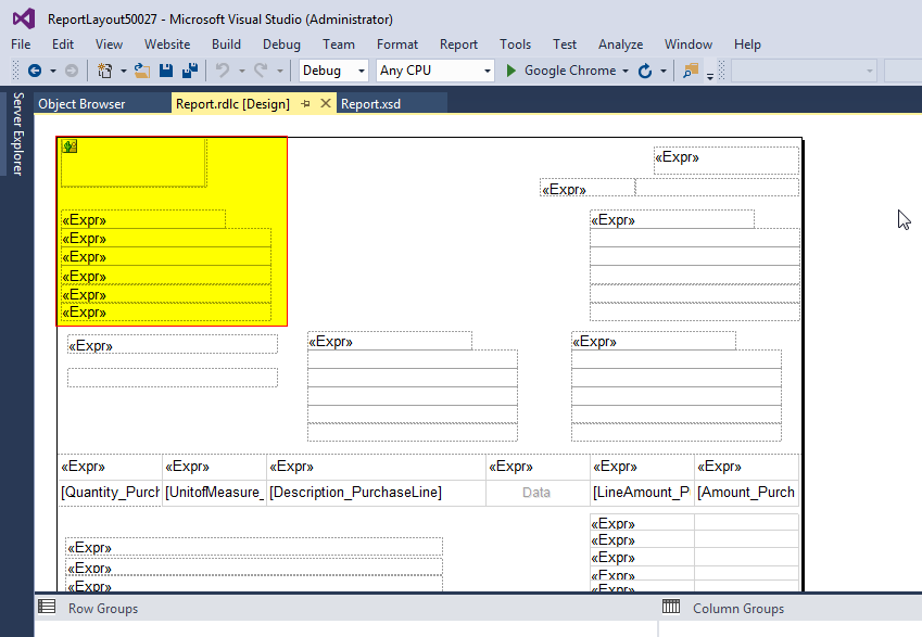 rdlc template - ms dynamics 365 business central the history of use of