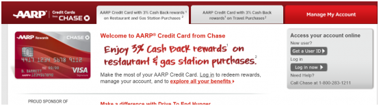 aarp chase credit card login