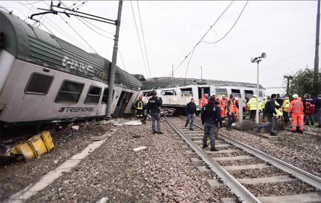 Πέντε νεκροί και πάνω από 100 τραυματίες από εκτροχιασμό τρένου κοντά στο Μιλάνο