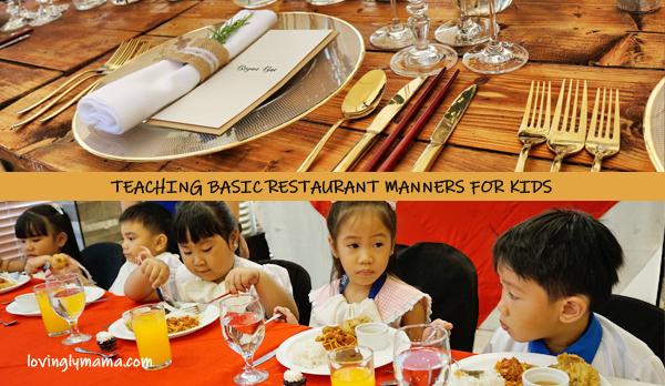 restaurant manners for kids - basic restaurant manners for kids- teaching kids - fine dining for kids - homeschooling in bacolod - fine dining setup