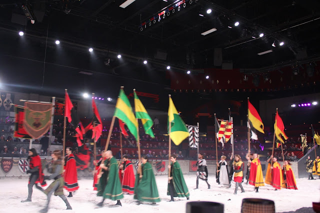 The pageantry as the show starts at Medieval Times!