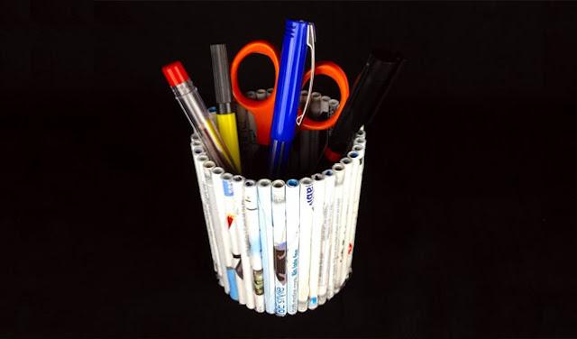 Cara Membuat Tempat Pensil dari Koran Bekas