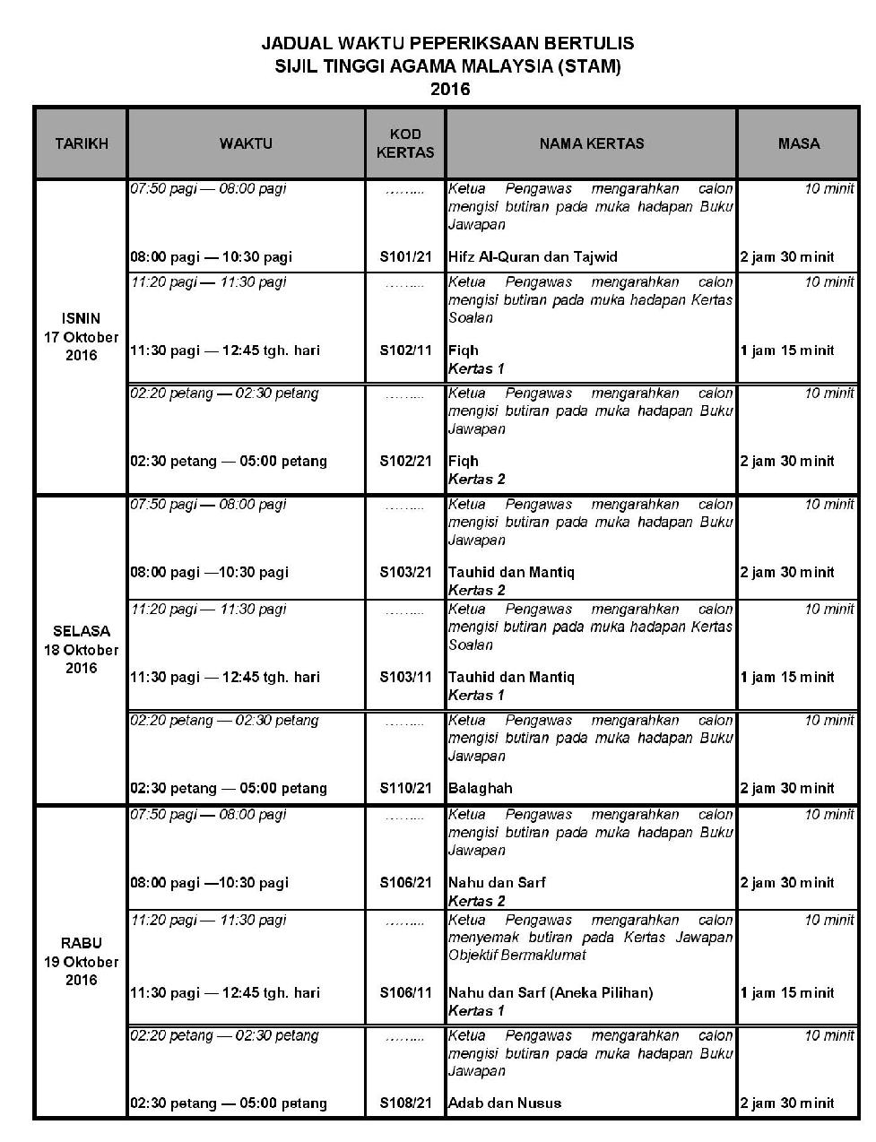 Jadual STAM 2016