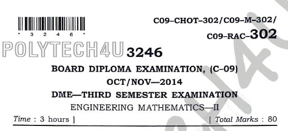 C-09 ENGINEERING MATHEMATICS -2 OLD QUESTION PAPERS 3RD SEM OCT/NOV 2014